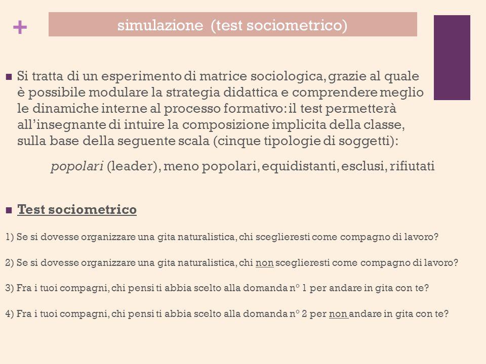 + Si tratta di un esperimento di matrice sociologica, grazie al quale è possibile modulare la strategia didattica e comprendere meglio le dinamiche in