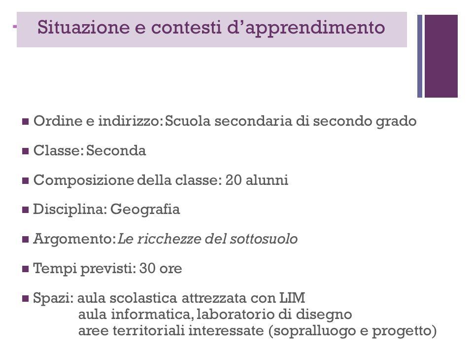+ Situazione e contesti d'apprendimento Ordine e indirizzo: Scuola secondaria di secondo grado Classe: Seconda Composizione della classe: 20 alunni Di
