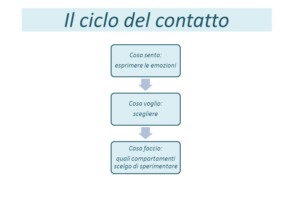 Il ciclo del contatto Cosa sento: esprimere le emozioni Cosa voglio: scegliere Cosa faccio: quali comportamenti scelgo di sperimentare