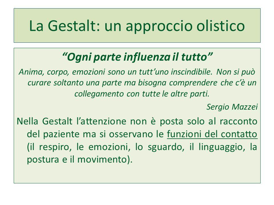 """La Gestalt: un approccio olistico """"Ogni parte influenza il tutto"""" Anima, corpo, emozioni sono un tutt'uno inscindibile. Non si può curare soltanto una"""