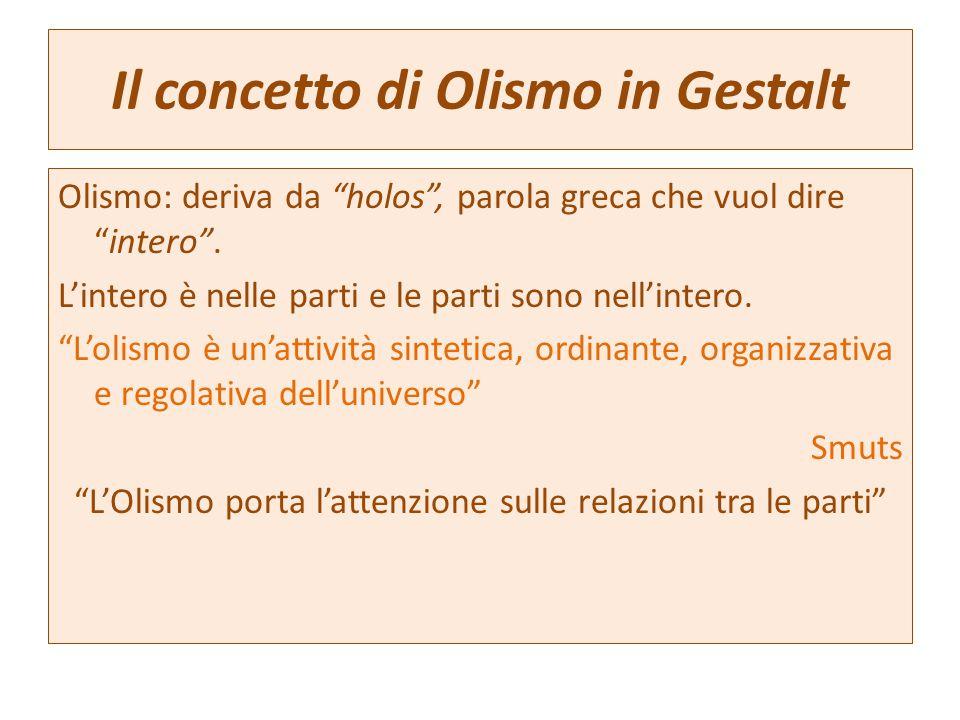 """Il concetto di Olismo in Gestalt Olismo: deriva da """"holos"""", parola greca che vuol dire """"intero"""". L'intero è nelle parti e le parti sono nell'intero. """""""