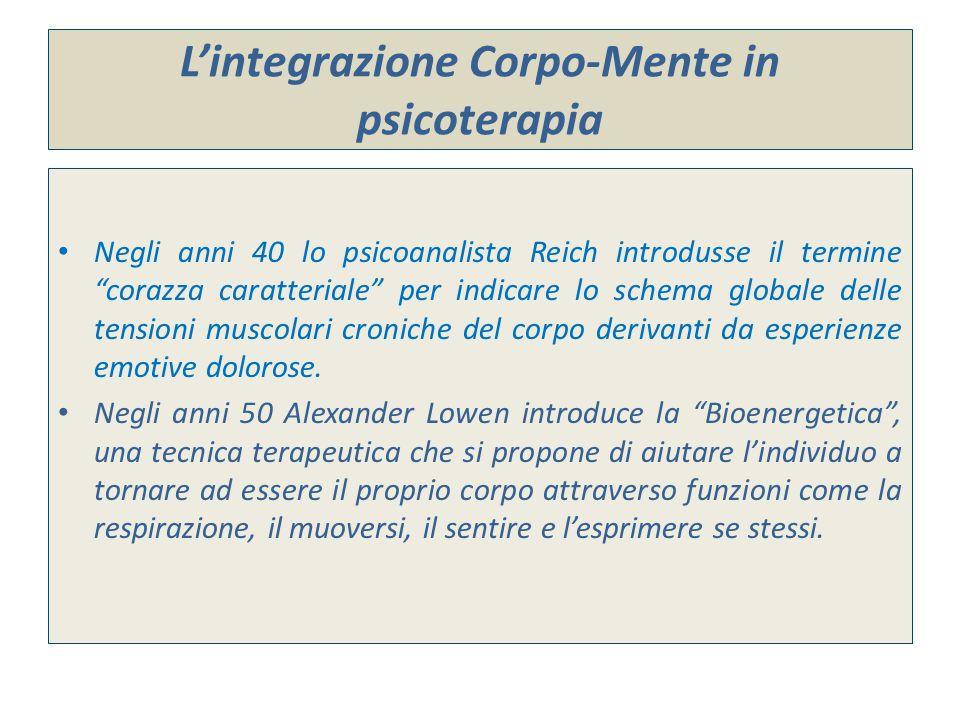 """L'integrazione Corpo-Mente in psicoterapia Negli anni 40 lo psicoanalista Reich introdusse il termine """"corazza caratteriale"""" per indicare lo schema gl"""