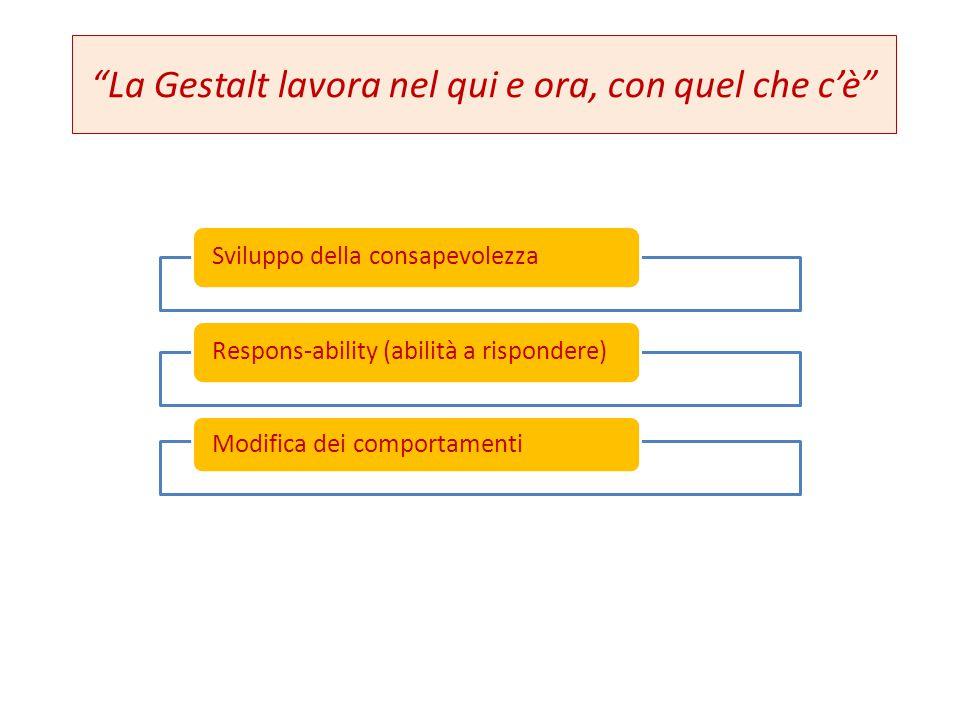 """""""La Gestalt lavora nel qui e ora, con quel che c'è"""" Sviluppo della consapevolezzaRespons-ability (abilità a rispondere) Modifica dei comportamenti"""