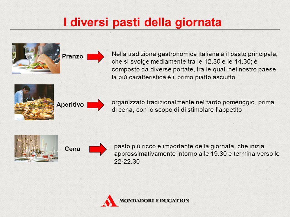 Pranzo Nella tradizione gastronomica italiana è il pasto principale, che si svolge mediamente tra le 12.30 e le 14.30; è composto da diverse portate,