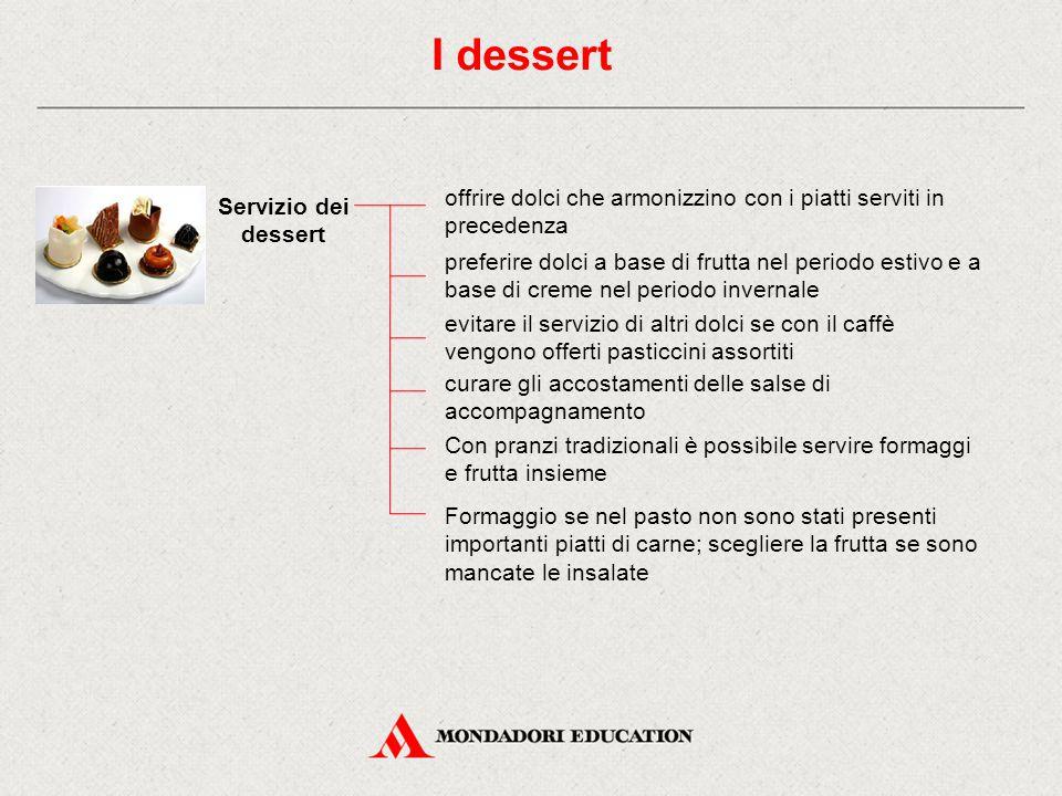 Servizio dei dessert preferire dolci a base di frutta nel periodo estivo e a base di creme nel periodo invernale evitare il servizio di altri dolci se