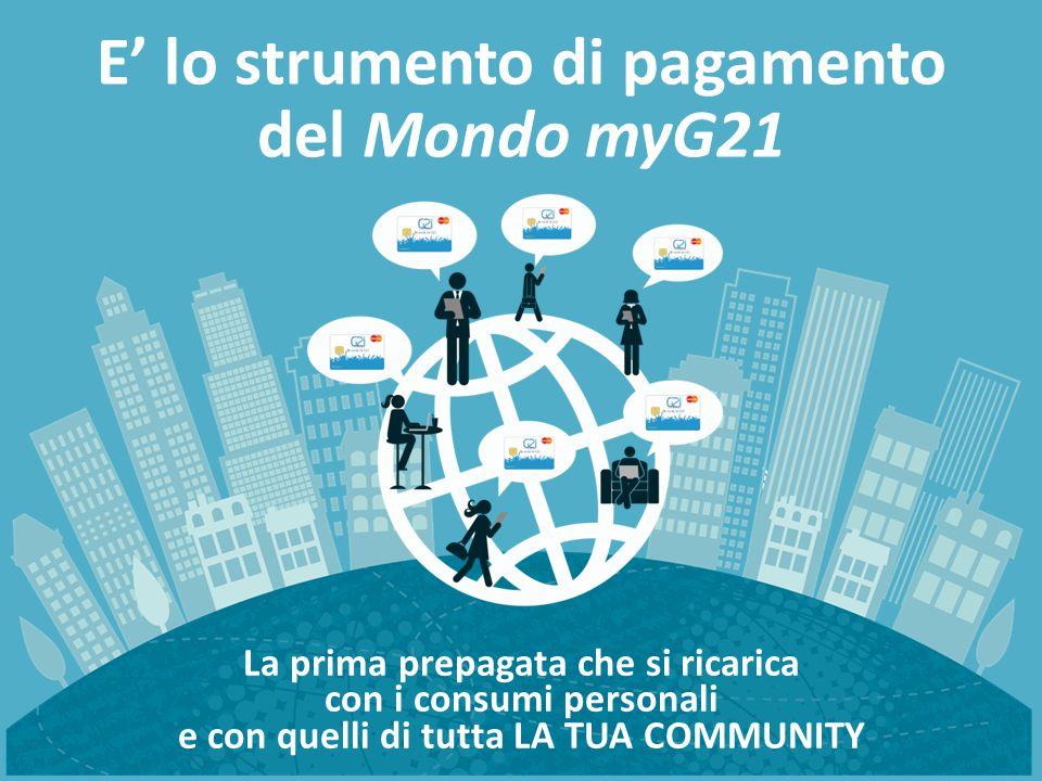 La prima prepagata che si ricarica con i consumi personali e con quelli di tutta LA TUA COMMUNITY E' lo strumento di pagamento del Mondo myG21