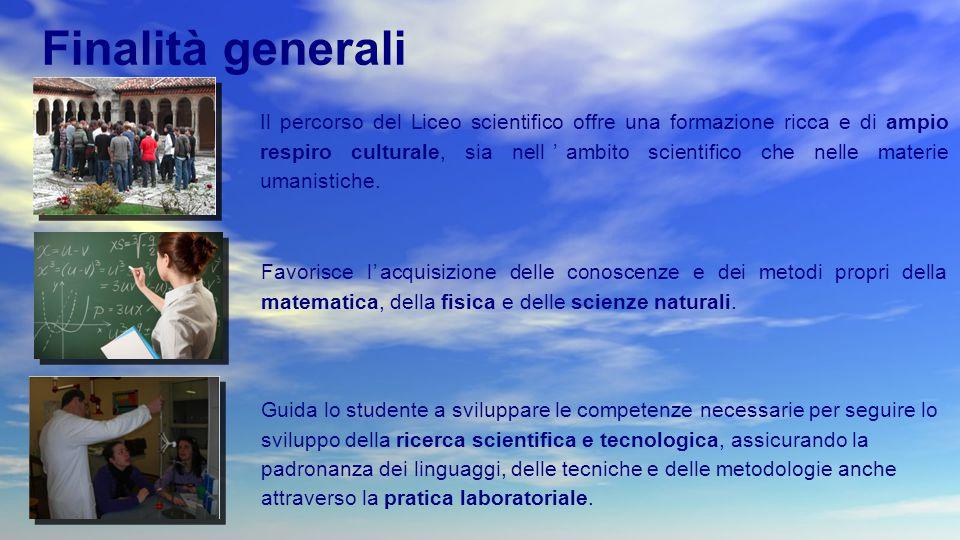 Il percorso del Liceo scientifico offre una formazione ricca e di ampio respiro culturale, sia nell'ambito scientifico che nelle materie umanistiche.
