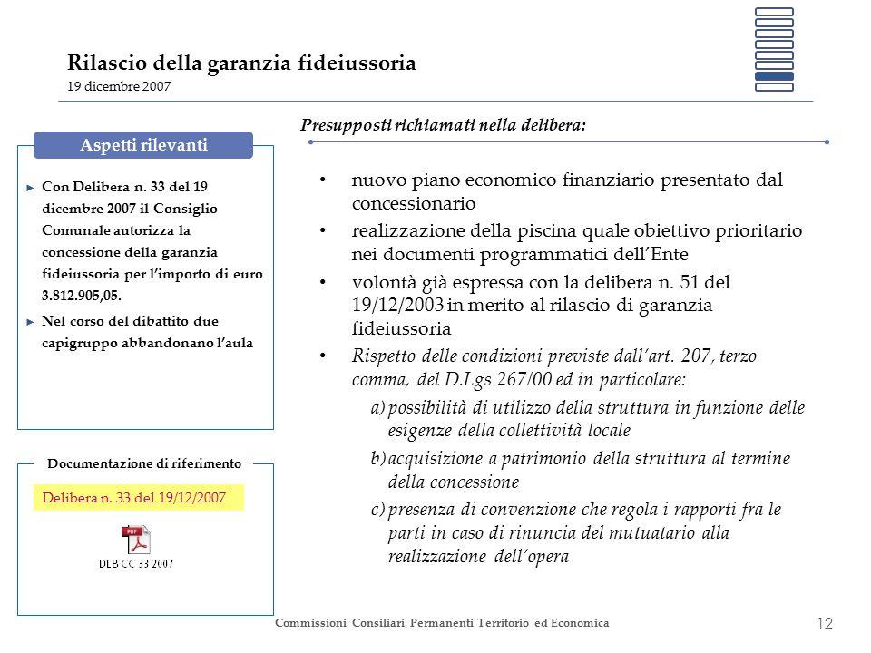 12 Commissioni Consiliari Permanenti Territorio ed Economica Rilascio della garanzia fideiussoria 19 dicembre 2007 ► Con Delibera n.