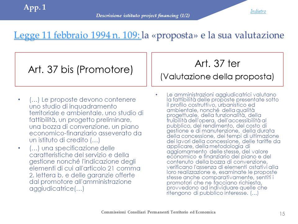 Legge 11 febbraio 1994 n. 109: Legge 11 febbraio 1994 n. 109: la «proposta» e la sua valutazione Legge 11 febbraio 1994 n. 109: Art. 37 bis (Promotore