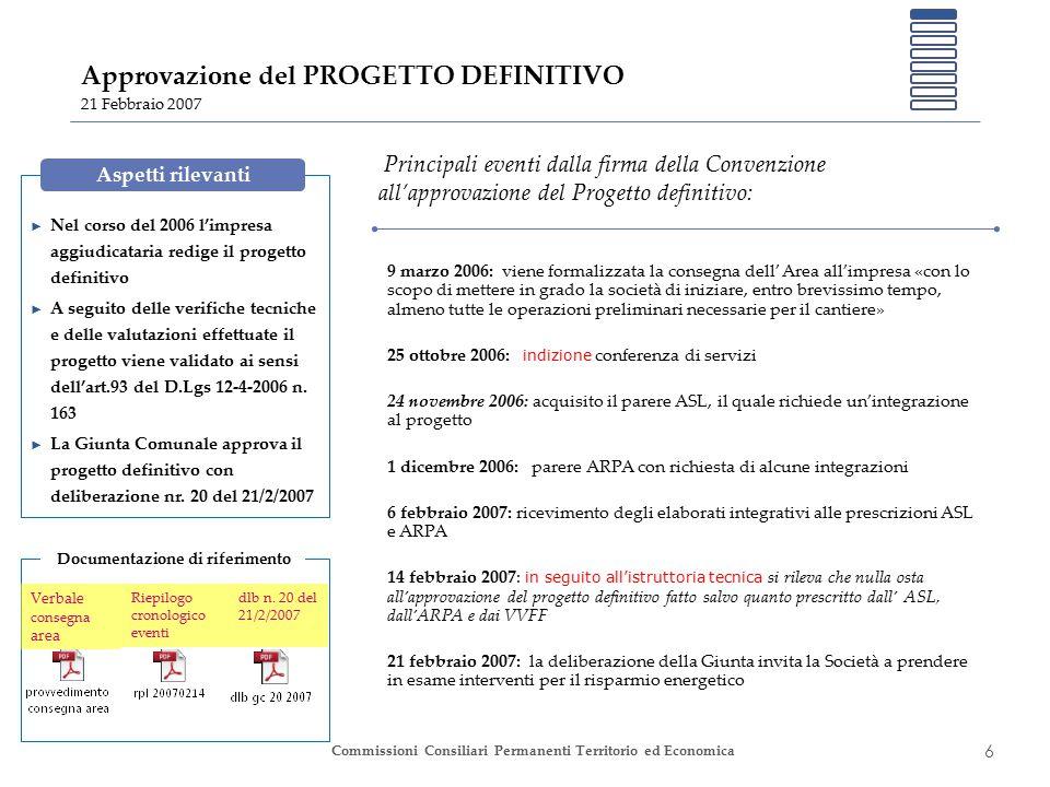6 Commissioni Consiliari Permanenti Territorio ed Economica Approvazione del PROGETTO DEFINITIVO 21 Febbraio 2007 ► Nel corso del 2006 l'impresa aggiu