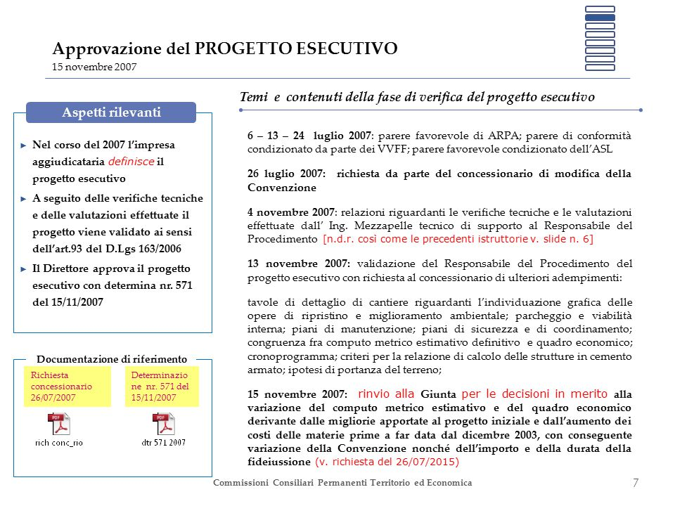 8 Commissioni Consiliari Permanenti Territorio ed Economica Modificazioni della Convenzione 12 dicembre 2007 La Giunta Comunale, con deliberazione nr.