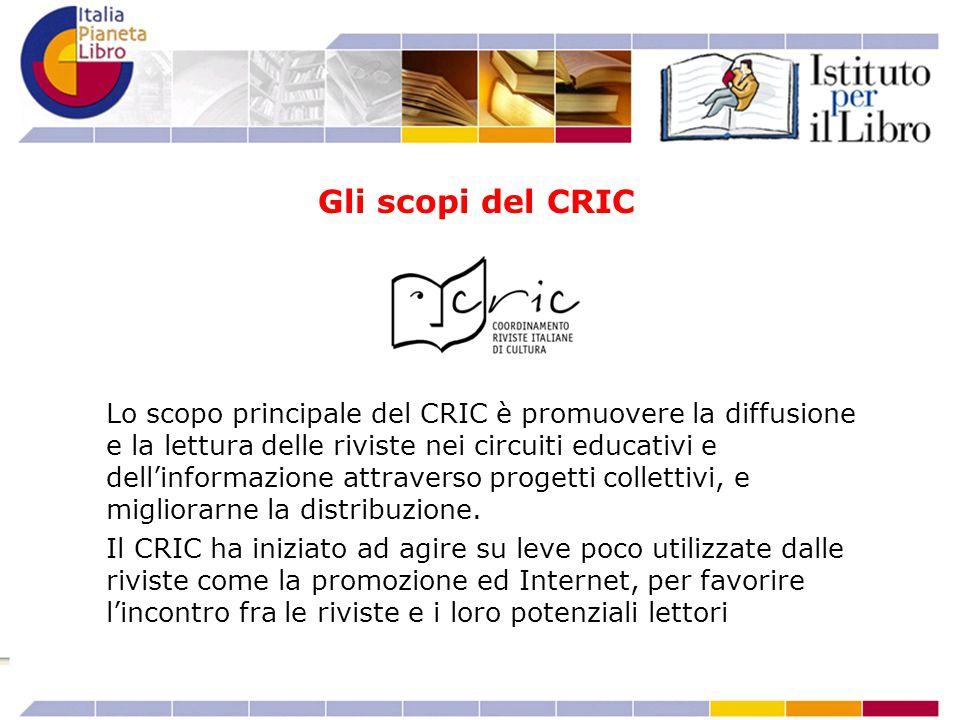 Lo scopo principale del CRIC è promuovere la diffusione e la lettura delle riviste nei circuiti educativi e dell'informazione attraverso progetti coll