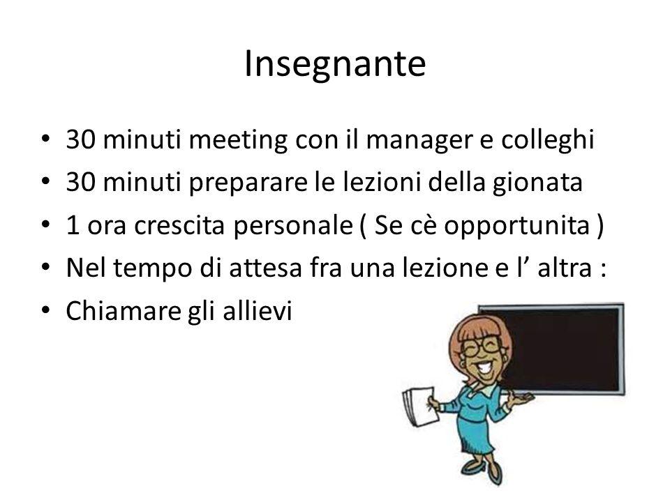 Insegnante 30 minuti meeting con il manager e colleghi 30 minuti preparare le lezioni della gionata 1 ora crescita personale ( Se cè opportunita ) Nel tempo di attesa fra una lezione e l' altra : Chiamare gli allievi