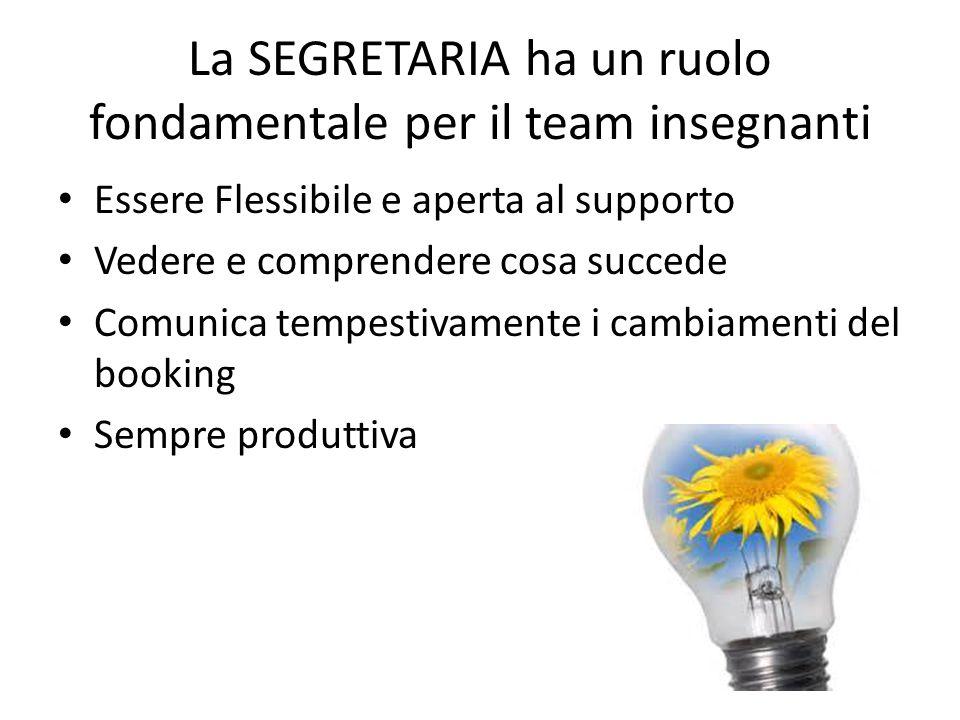 La SEGRETARIA ha un ruolo fondamentale per il team insegnanti Essere Flessibile e aperta al supporto Vedere e comprendere cosa succede Comunica tempes