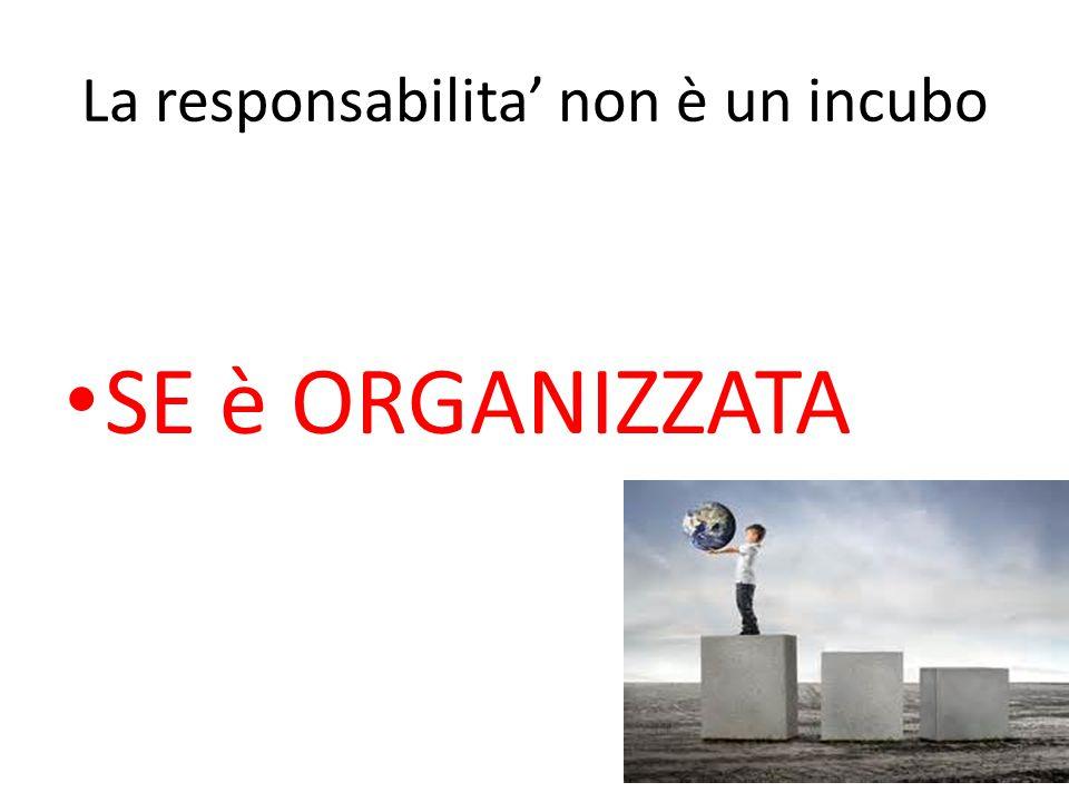 La responsabilita' non è un incubo SE è ORGANIZZATA