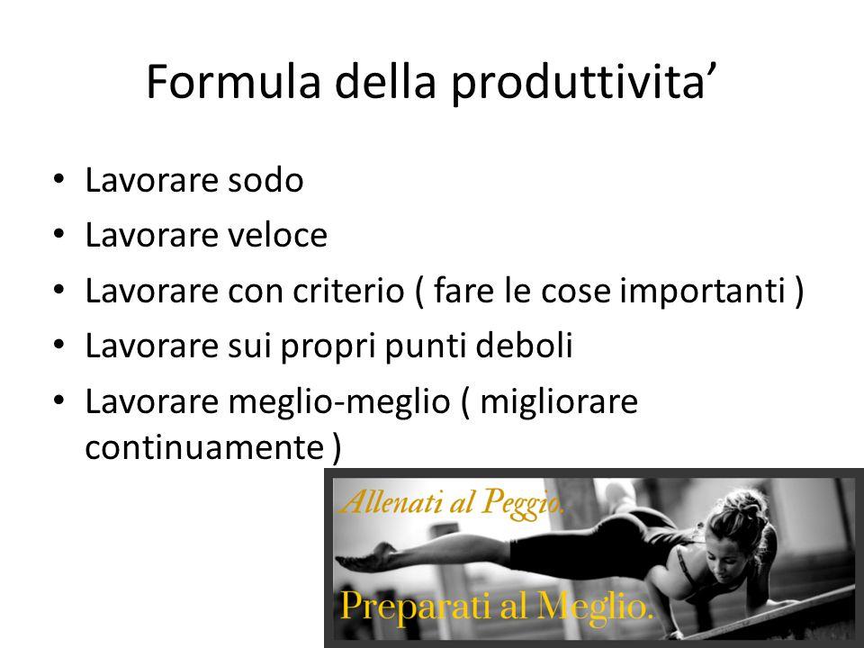 Formula della produttivita' Lavorare sodo Lavorare veloce Lavorare con criterio ( fare le cose importanti ) Lavorare sui propri punti deboli Lavorare