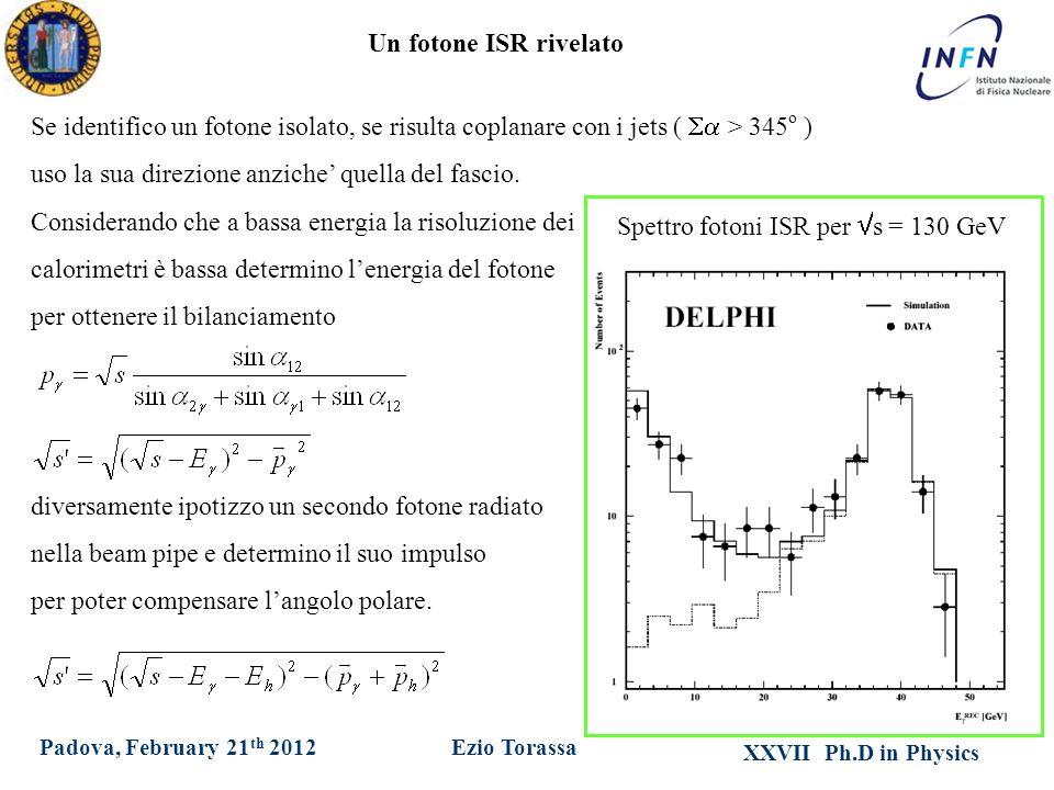 XXVII Ph.D in Physics Ezio TorassaPadova, February 21 th 2012 Un fotone ISR rivelato Se identifico un fotone isolato, se risulta coplanare con i jets (  > 345 o ) uso la sua direzione anziche' quella del fascio.