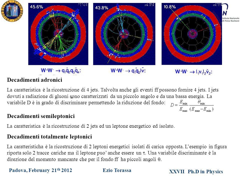 XXVII Ph.D in Physics Ezio TorassaPadova, February 21 th 2012 Decadimenti adronici La caratteristica è la ricostruzione di 4 jets.