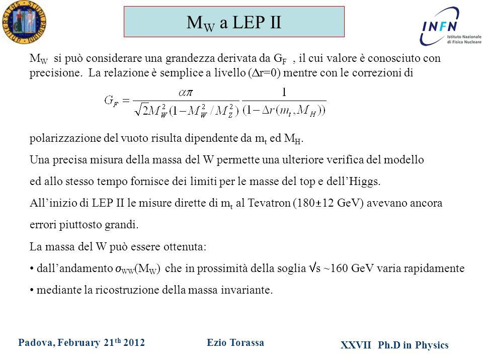 XXVII Ph.D in Physics Ezio TorassaPadova, February 21 th 2012 M W a LEP II M W si può considerare una grandezza derivata da G F, il cui valore è conosciuto con precisione.