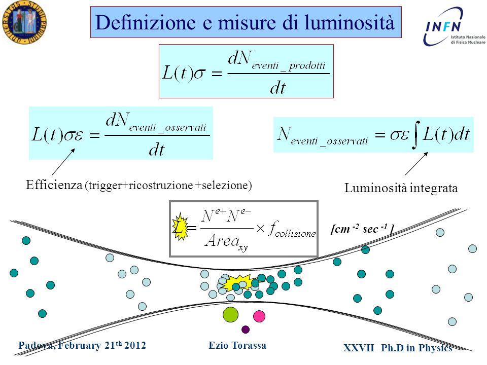 XXVII Ph.D in Physics Ezio TorassaPadova, February 21 th 2012 Definizione e misure di luminosità Luminosità integrata Efficienza (trigger+ricostruzione +selezione) [cm -2 sec -1 ]
