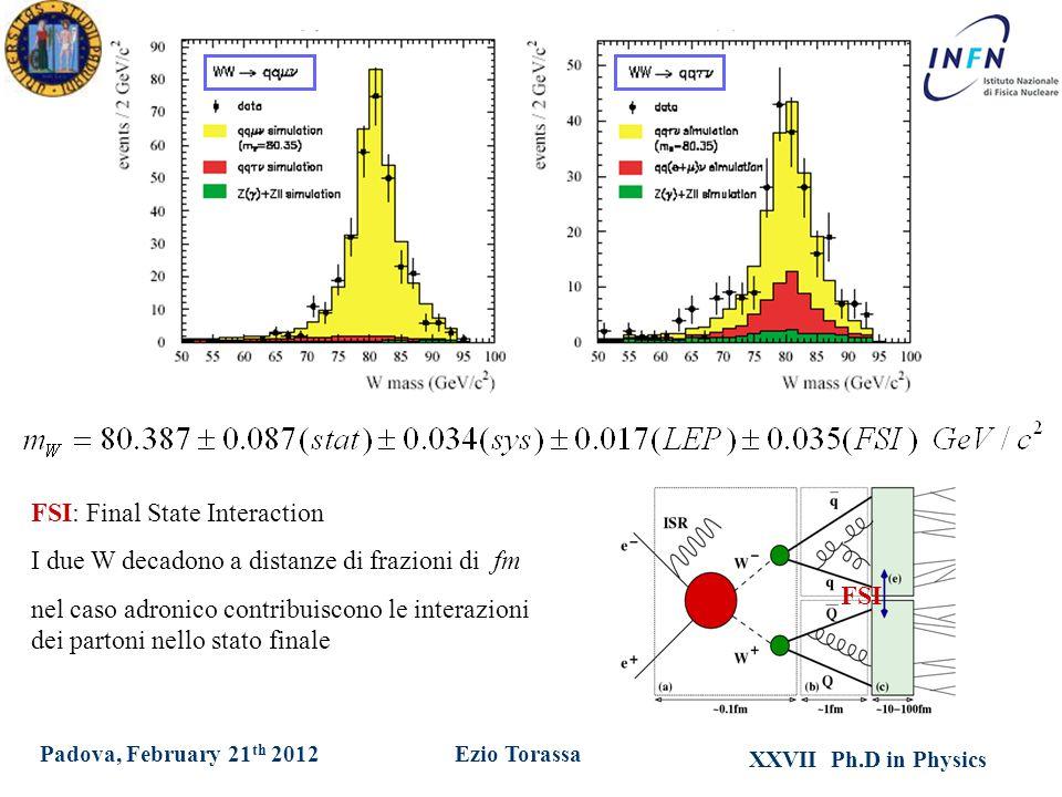 XXVII Ph.D in Physics Ezio TorassaPadova, February 21 th 2012 FSI: Final State Interaction I due W decadono a distanze di frazioni di fm nel caso adronico contribuiscono le interazioni dei partoni nello stato finale FSI