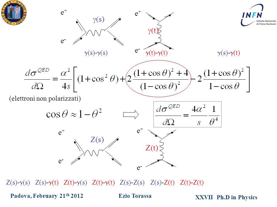 XXVII Ph.D in Physics Ezio TorassaPadova, February 21 th 2012 e+e+ e-e-  t)   s) e+e+ e-e-  (s)-  (t)  (t)-  (t)  (s)-  (s) Z(s)-  (s) Z(s)-  (t) Z(t)-  (s) Z(t)-  (t) Z(s)-Z(s) Z(s)-Z(t) Z(t)-Z(t)  Z(s) e+e+ e-e- e+e+ e-e- Z  t) (elettroni non polarizzati)