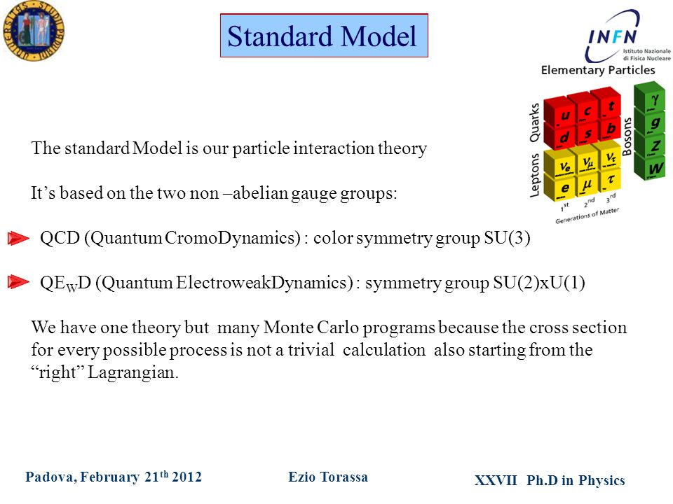 XXVII Ph.D in Physics Ezio TorassaPadova, February 21 th 2012 The standard Model is our particle interaction theory It's based on the two non –abelian gauge groups: QCD (Quantum CromoDynamics) : color symmetry group SU(3) QE W D (Quantum ElectroweakDynamics) : symmetry group SU(2)xU(1) We have one theory but many Monte Carlo programs because the cross section for every possible process is not a trivial calculation also starting from the right Lagrangian.