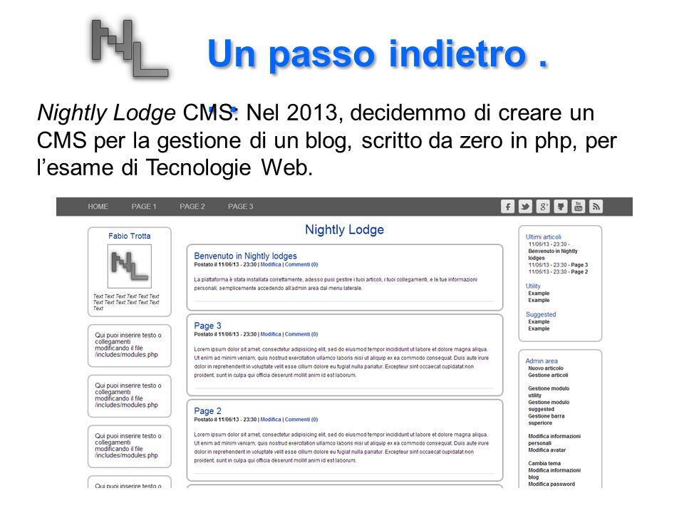 Un passo indietro... Nightly Lodge CMS: Nel 2013, decidemmo di creare un CMS per la gestione di un blog, scritto da zero in php, per l'esame di Tecnol