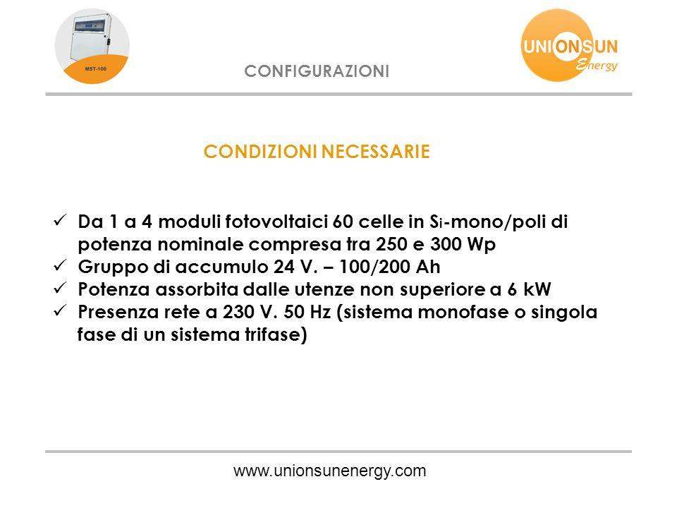 www.unionsunenergy.com CONFIGURAZIONI CONDIZIONI NECESSARIE Da 1 a 4 moduli fotovoltaici 60 celle in S i -mono/poli di potenza nominale compresa tra 2