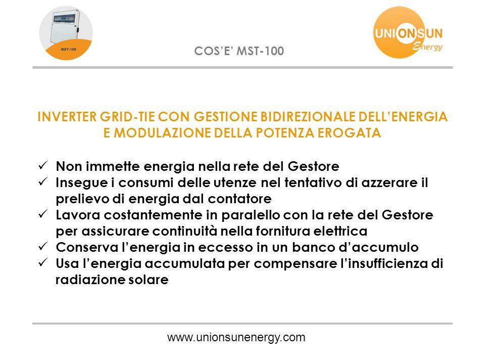 www.unionsunenergy.com COS'E' MST-100 INVERTER GRID-TIE CON GESTIONE BIDIREZIONALE DELL'ENERGIA E MODULAZIONE DELLA POTENZA EROGATA Non immette energi
