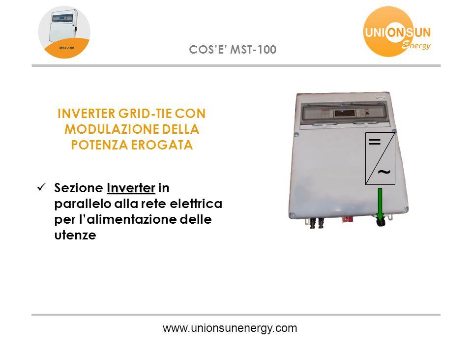 www.unionsunenergy.com COS'E' MST-100 INVERTER GRID-TIE CON MODULAZIONE DELLA POTENZA EROGATA Inverter Sezione Inverter in parallelo alla rete elettri