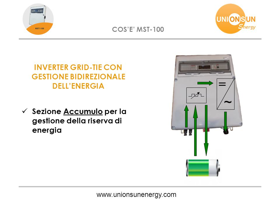 ~ www.unionsunenergy.com COS'E' MST-100 INVERTER GRID-TIE CON GESTIONE BIDIREZIONALE DELL'ENERGIA Accumulo Sezione Accumulo per la gestione della rise