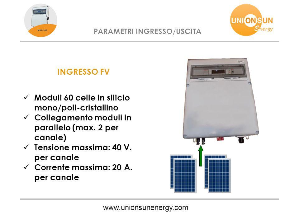 www.unionsunenergy.com PARAMETRI INGRESSO/USCITA INGRESSO FV Moduli 60 celle in silicio mono/poli-cristallino Collegamento moduli in parallelo (max. 2