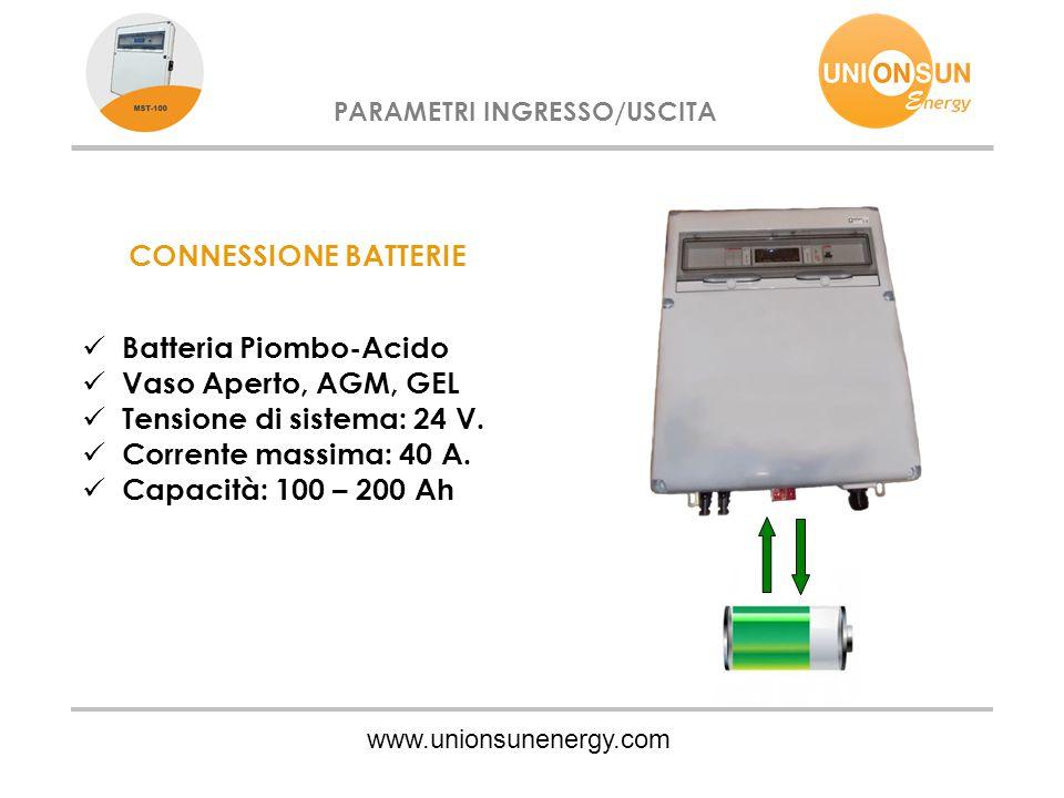 www.unionsunenergy.com PARAMETRI INGRESSO/USCITA CONNESSIONE BATTERIE Batteria Piombo-Acido Vaso Aperto, AGM, GEL Tensione di sistema: 24 V. Corrente
