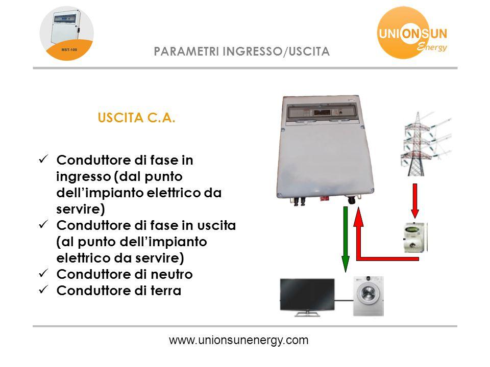 www.unionsunenergy.com PARAMETRI INGRESSO/USCITA USCITA C.A. Conduttore di fase in ingresso (dal punto dell'impianto elettrico da servire) Conduttore