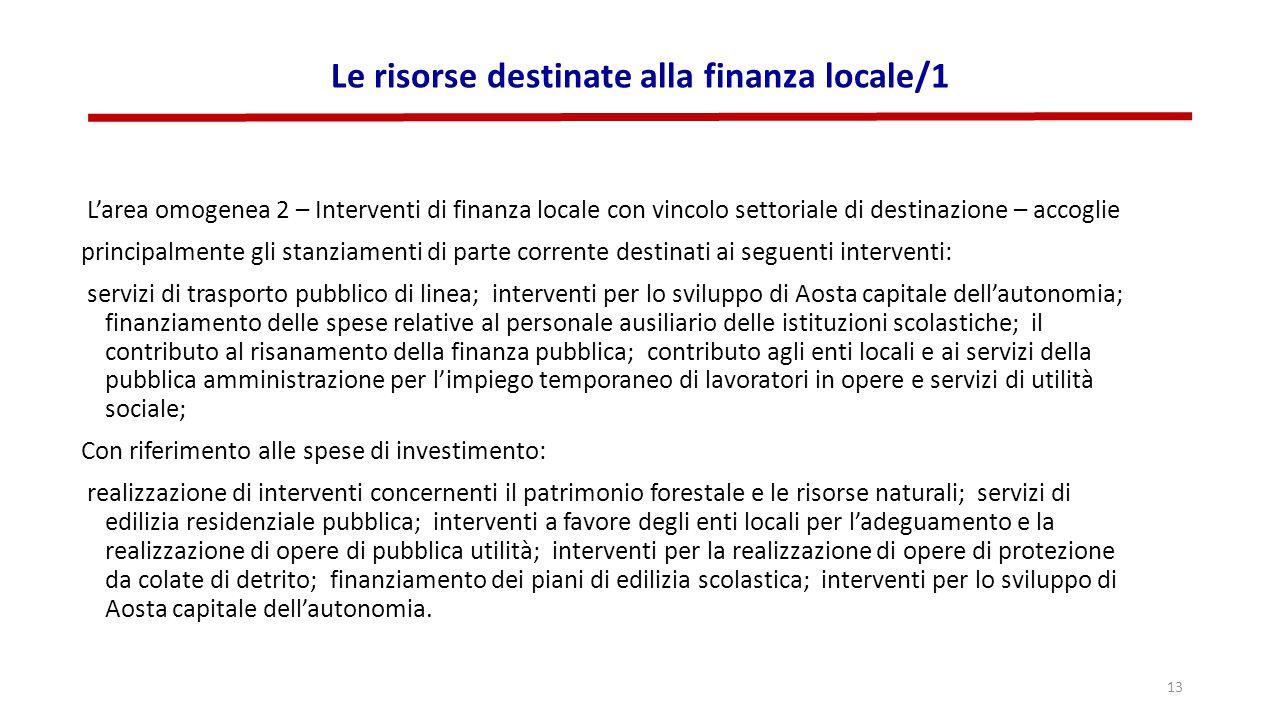 Le risorse destinate alla finanza locale/1 L'area omogenea 2 – Interventi di finanza locale con vincolo settoriale di destinazione – accoglie principa