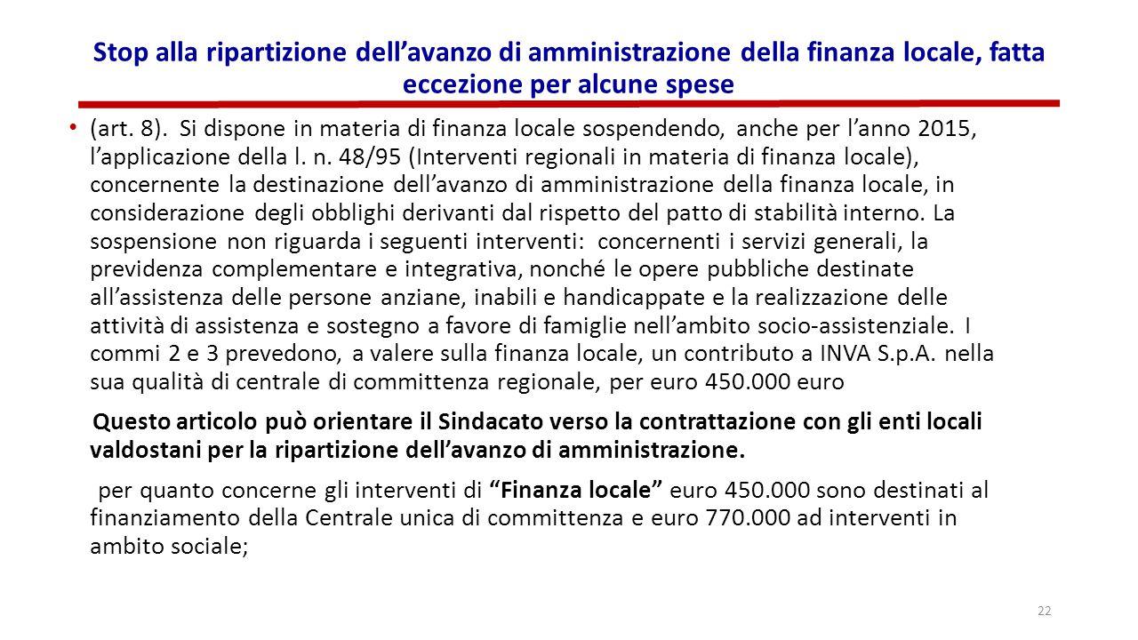 Stop alla ripartizione dell'avanzo di amministrazione della finanza locale, fatta eccezione per alcune spese (art. 8). Si dispone in materia di finanz