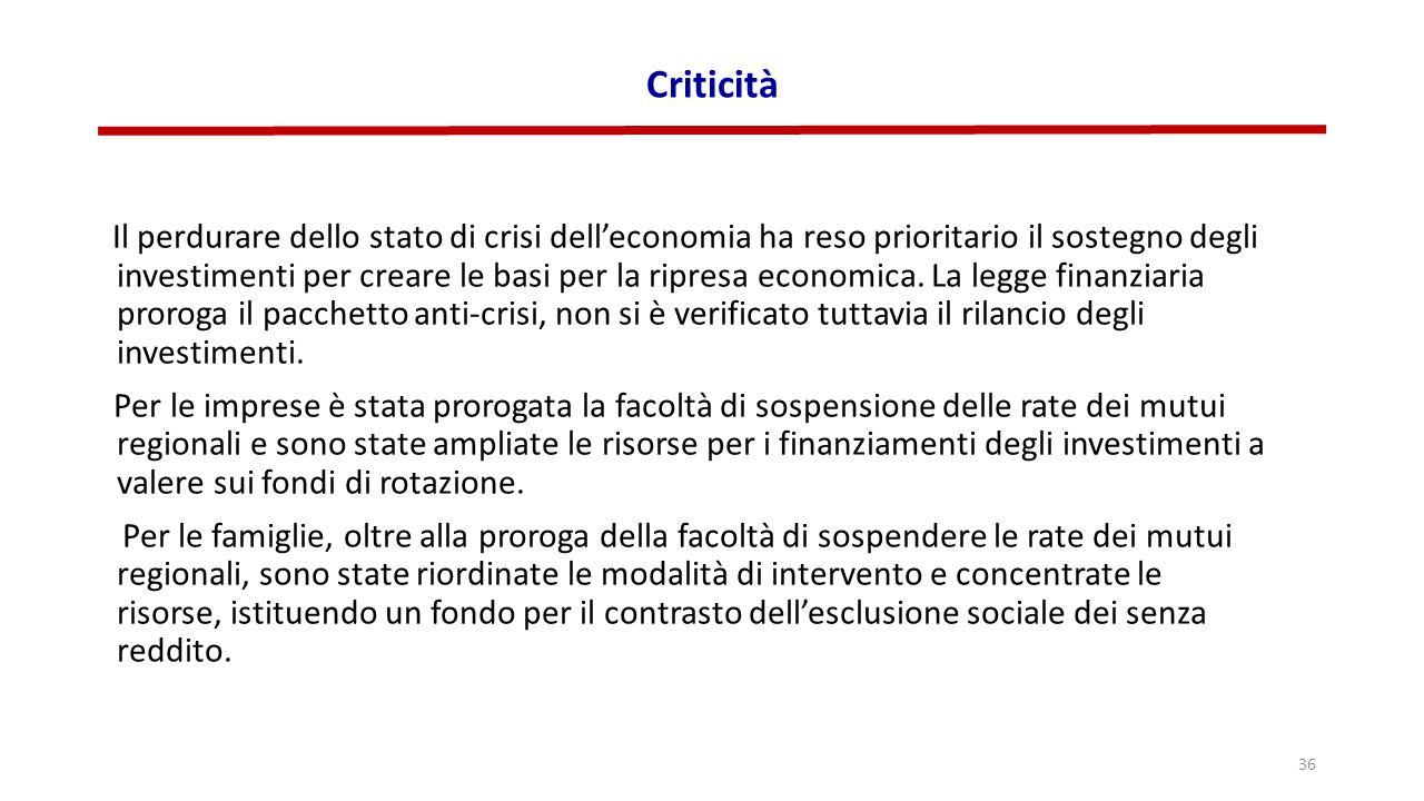 Criticità Il perdurare dello stato di crisi dell'economia ha reso prioritario il sostegno degli investimenti per creare le basi per la ripresa economi