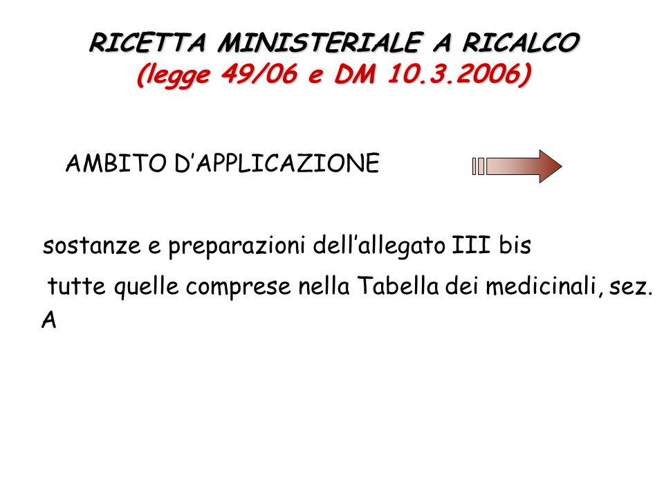 RICETTA MINISTERIALE A RICALCO (legge 49/06 e DM 10.3.2006) AMBITO D'APPLICAZIONE sostanze e preparazioni dell'allegato III bis tutte quelle comprese