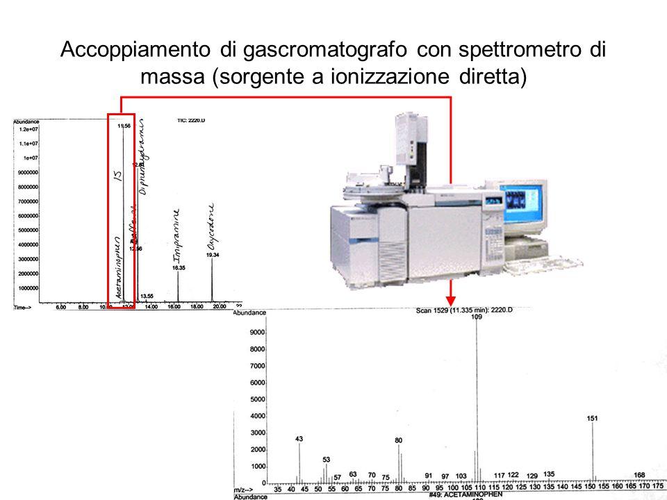 Accoppiamento di gascromatografo con spettrometro di massa (sorgente a ionizzazione diretta)