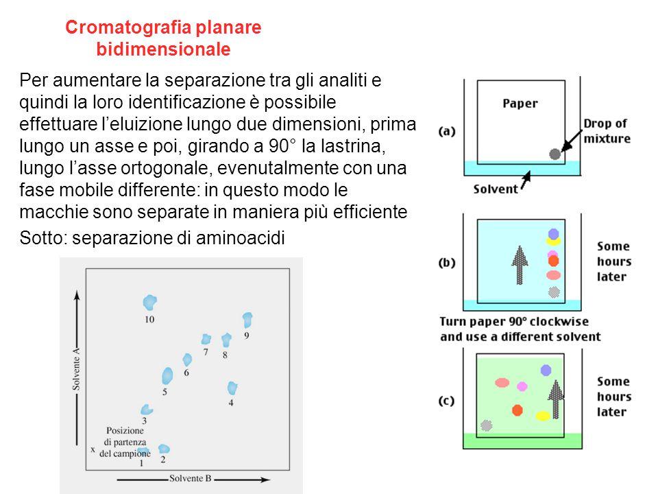 Cromatografia planare bidimensionale Per aumentare la separazione tra gli analiti e quindi la loro identificazione è possibile effettuare l'eluizione lungo due dimensioni, prima lungo un asse e poi, girando a 90° la lastrina, lungo l'asse ortogonale, evenutalmente con una fase mobile differente: in questo modo le macchie sono separate in maniera più efficiente Sotto: separazione di aminoacidi