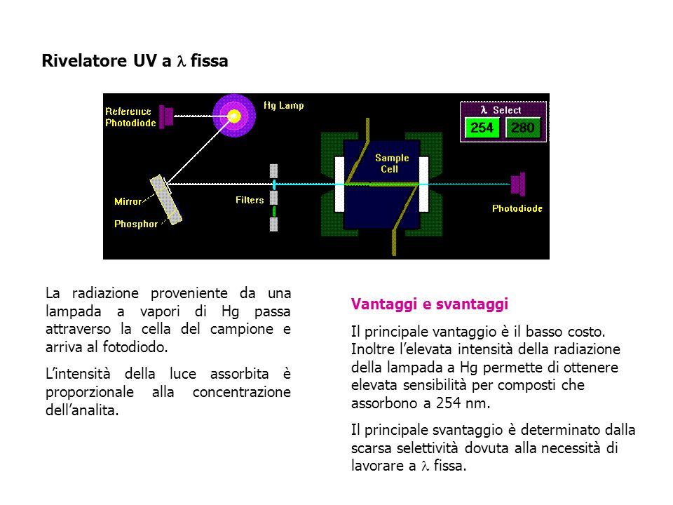 Rivelatore UV a fissa La radiazione proveniente da una lampada a vapori di Hg passa attraverso la cella del campione e arriva al fotodiodo.