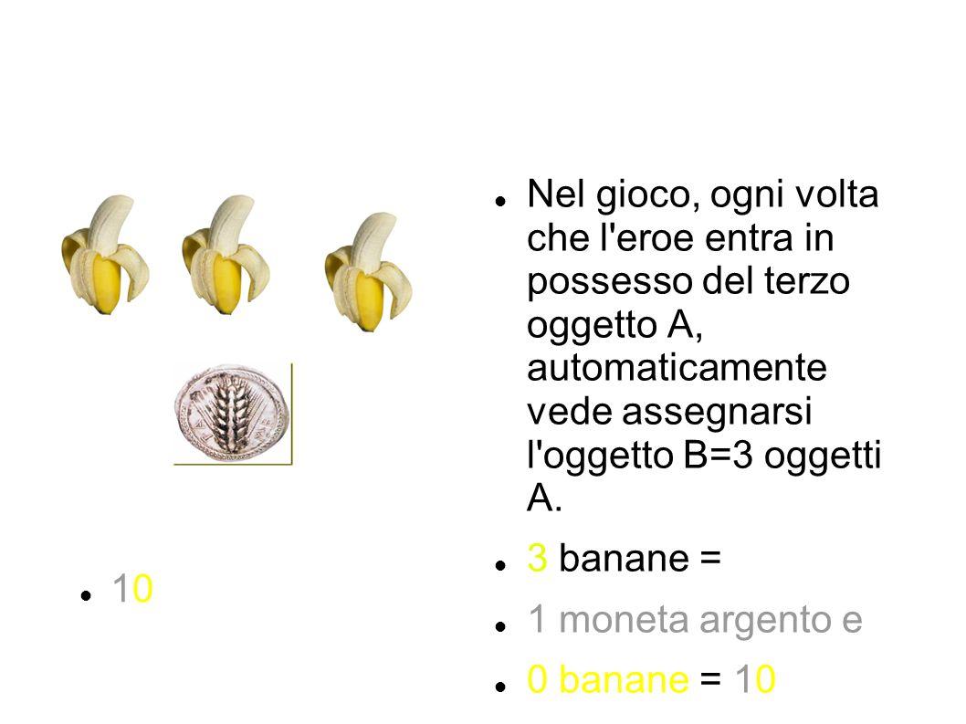 Nel gioco, ogni volta che l'eroe entra in possesso del terzo oggetto A, automaticamente vede assegnarsi l'oggetto B=3 oggetti A. 3 banane = 1 moneta a