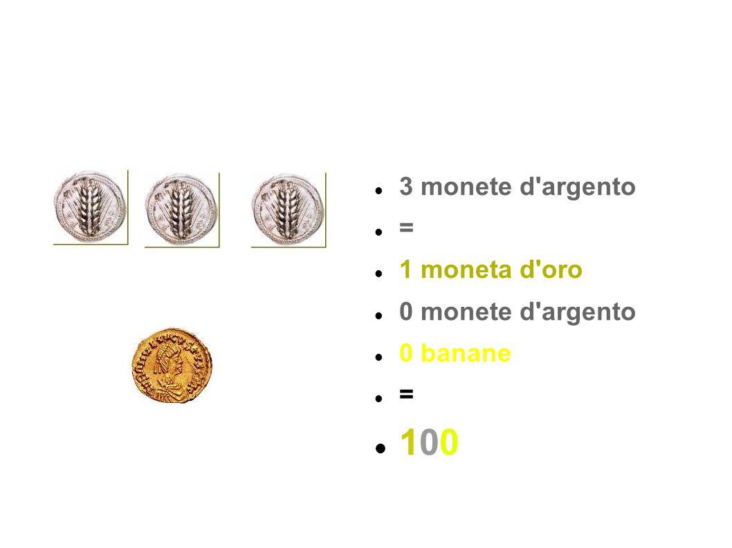 3 monete d'argento = 1 moneta d'oro 0 monete d'argento 0 banane = 100