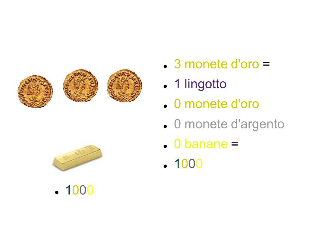 3 monete d'oro = 1 lingotto 0 monete d'oro 0 monete d'argento 0 banane = 1000