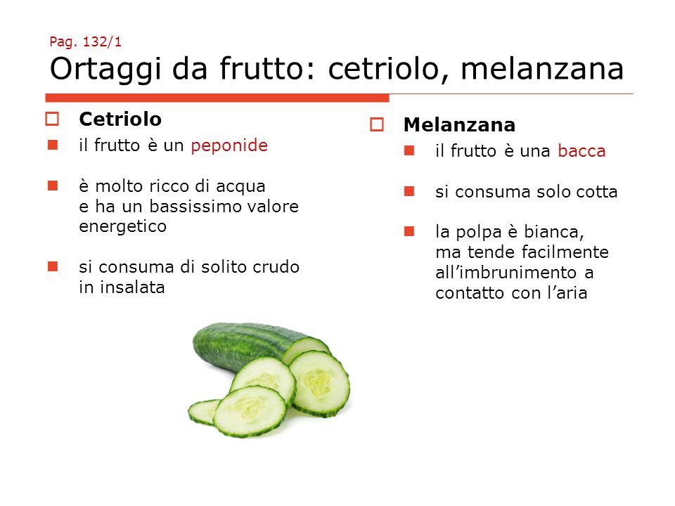 Pag. 132/1 Ortaggi da frutto: cetriolo, melanzana  Cetriolo il frutto è un peponide è molto ricco di acqua e ha un bassissimo valore energetico si co