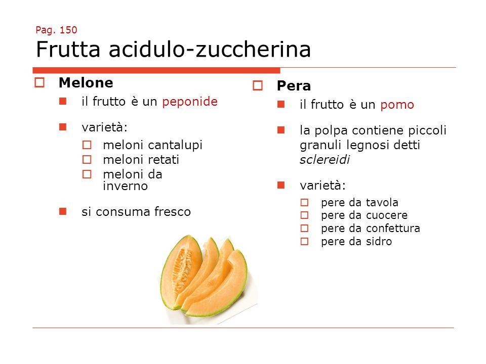Pag. 150 Frutta acidulo-zuccherina  Melone il frutto è un peponide varietà:  meloni cantalupi  meloni retati  meloni da inverno si consuma fresco