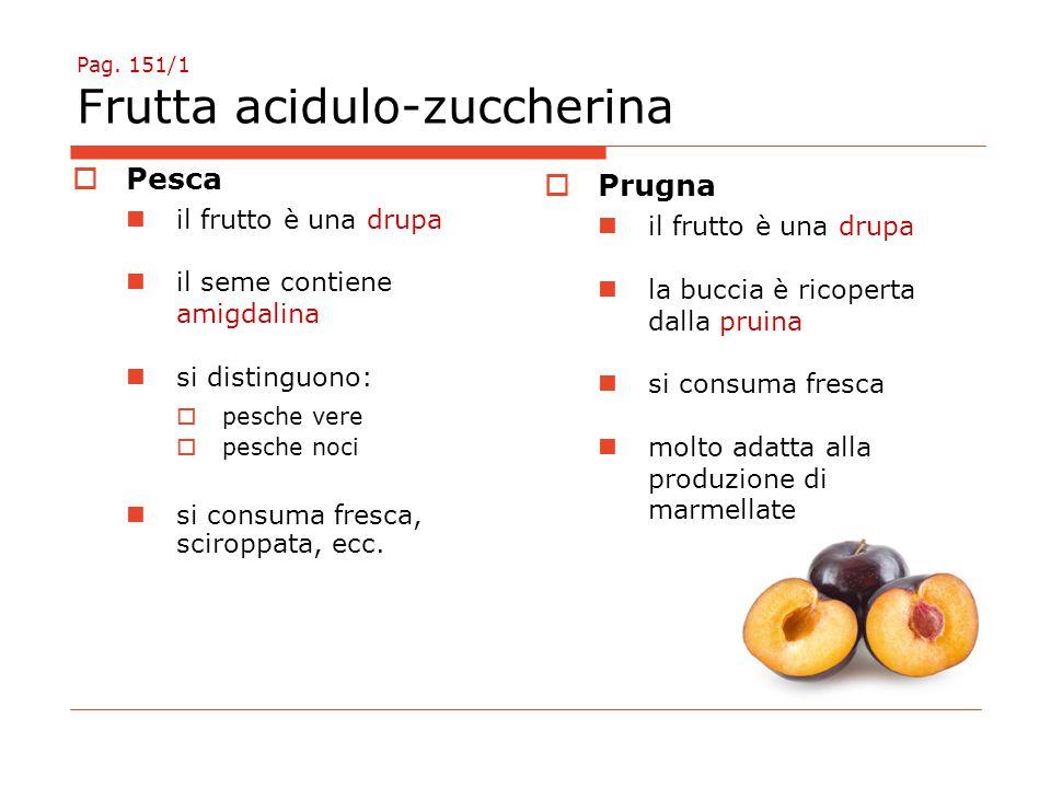 Pag. 151/1 Frutta acidulo-zuccherina  Pesca il frutto è una drupa il seme contiene amigdalina si distinguono:  pesche vere  pesche noci si consuma