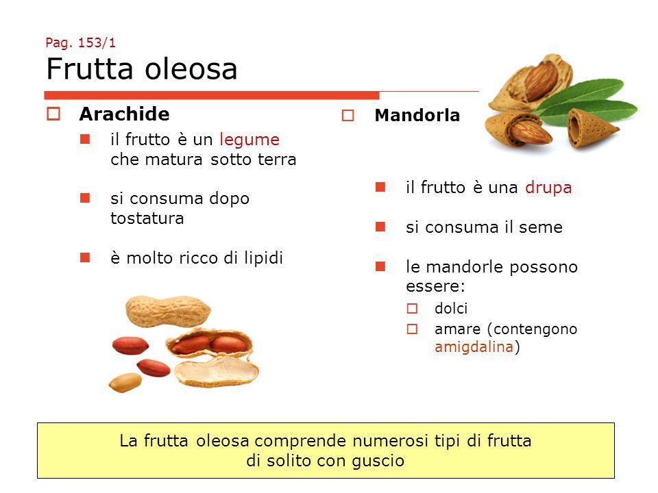 Pag. 153/1 Frutta oleosa  Arachide il frutto è un legume che matura sotto terra si consuma dopo tostatura è molto ricco di lipidi  Mandorla il frutt