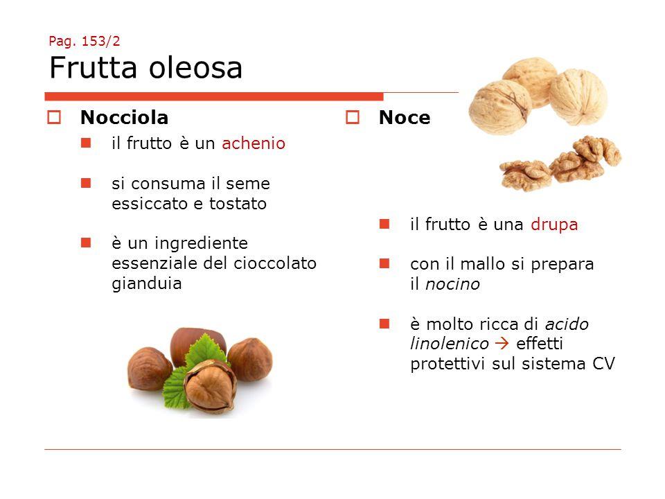 Pag. 153/2 Frutta oleosa  Nocciola il frutto è un achenio si consuma il seme essiccato e tostato è un ingrediente essenziale del cioccolato gianduia